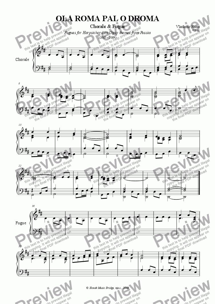 page one of Gipsy Themes from Siberia > Ola Roma Pal O Droma