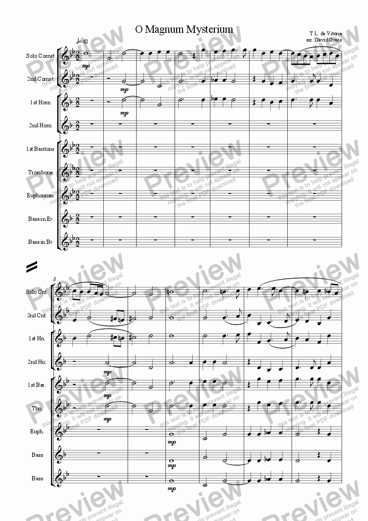 page one of Vitoria:  Motet: O Magnum MysteriumASALTTEXT