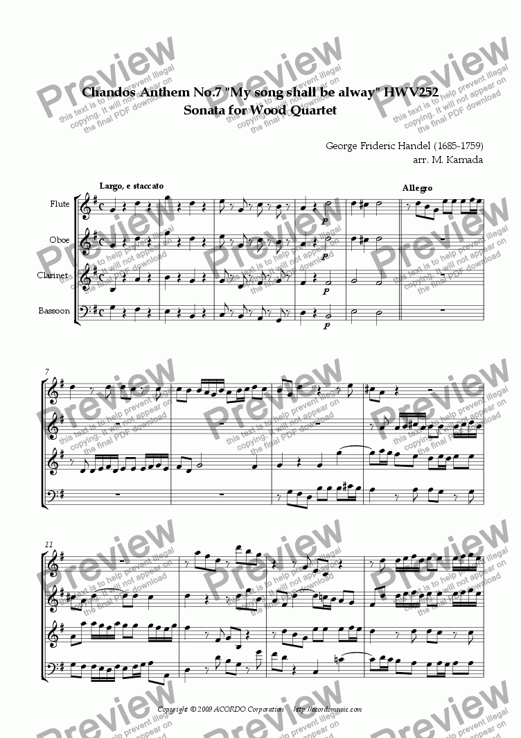 "page one of Chandos Anthem No.7 ""My song shall be alway"" HWV252 Sonata for Wood Quartet"