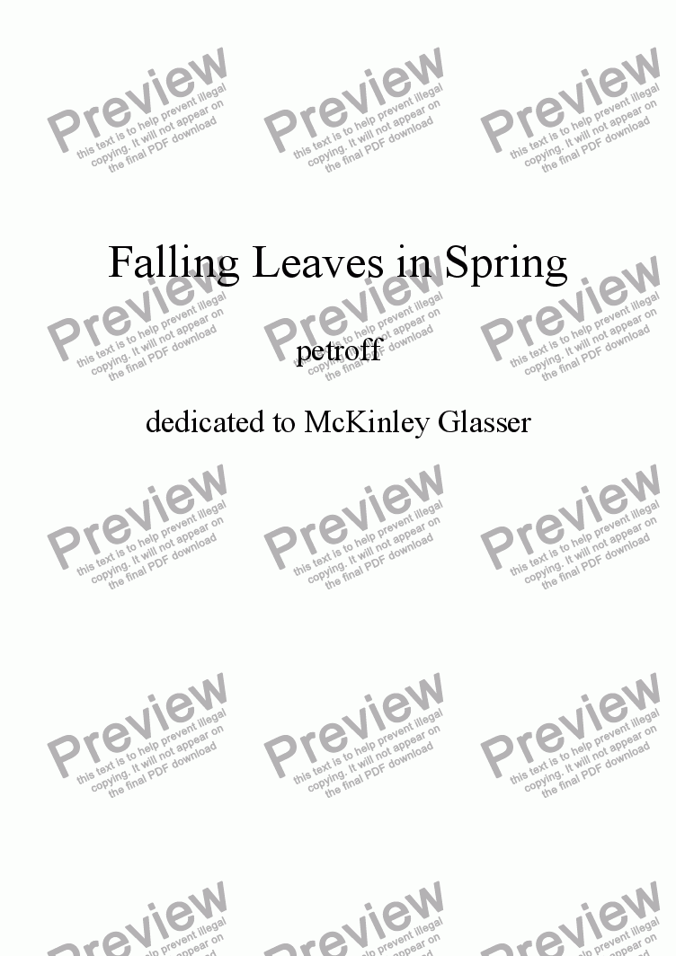 page one of Falling Leaves In Spring