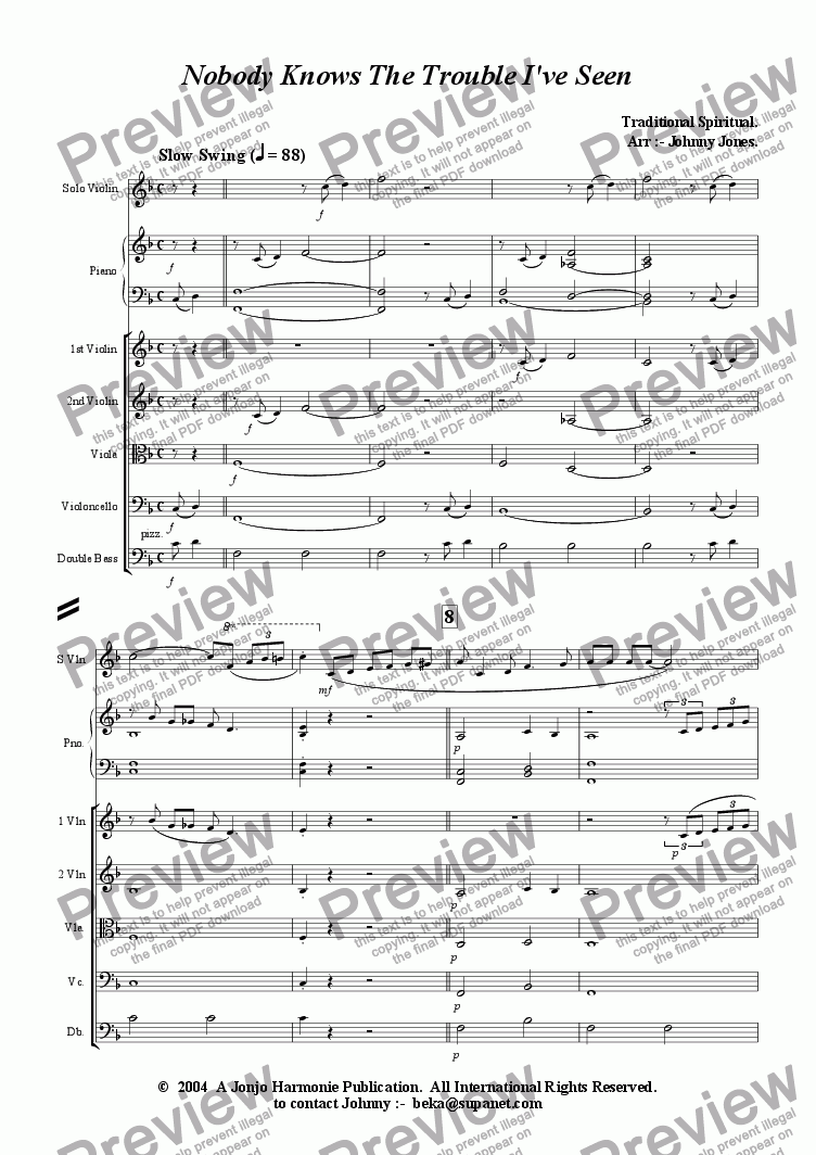 page one of Nobody Knows The Trouble I've Seen   (Solo Violin and Strings)