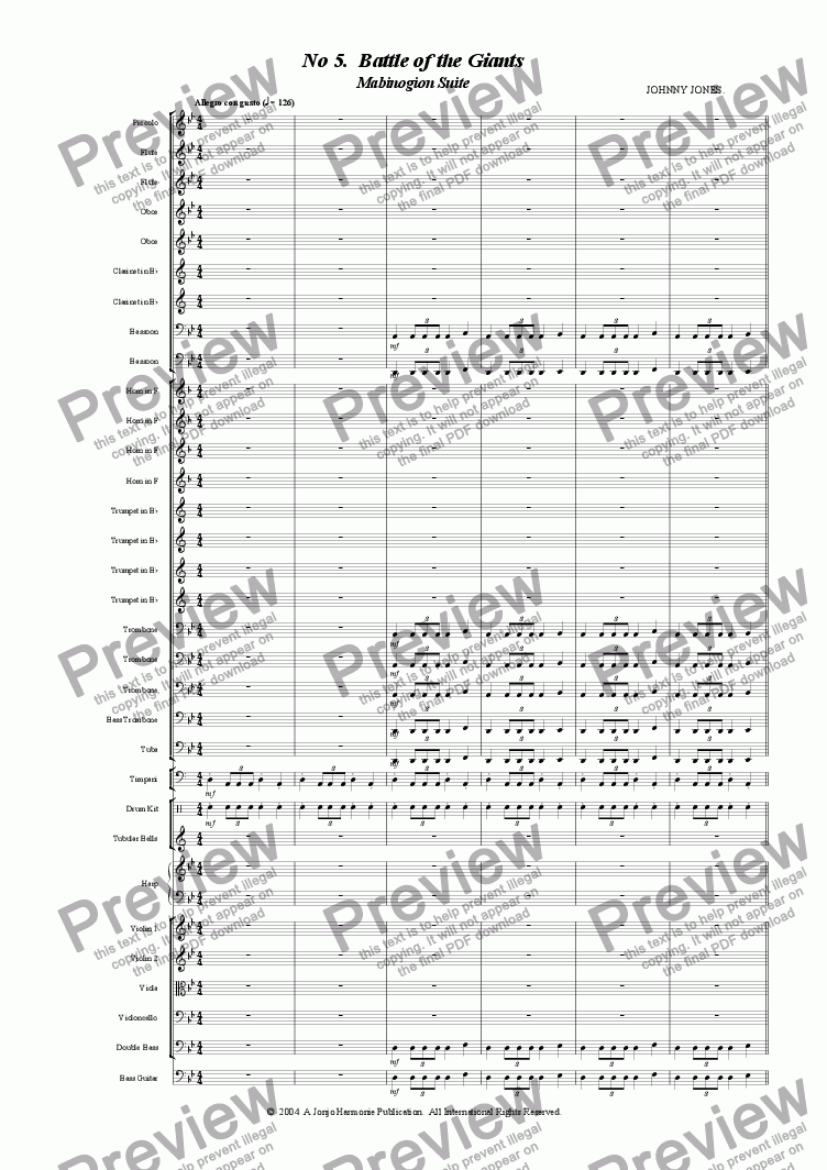 page one of #5 Battle of the Giants from 'Mabinogion Suite'   (Symphonic Orchestra)