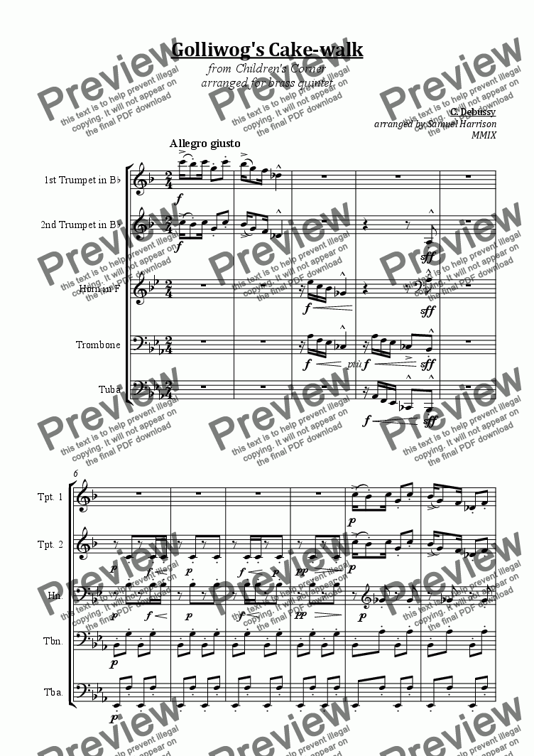 page one of Golliwog's Cake-walk (for brass quintet)