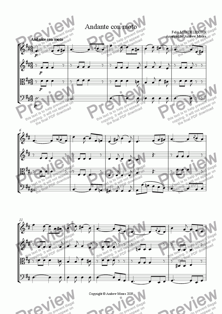 page one of 'Andante con moto' for String quartet or ensemble