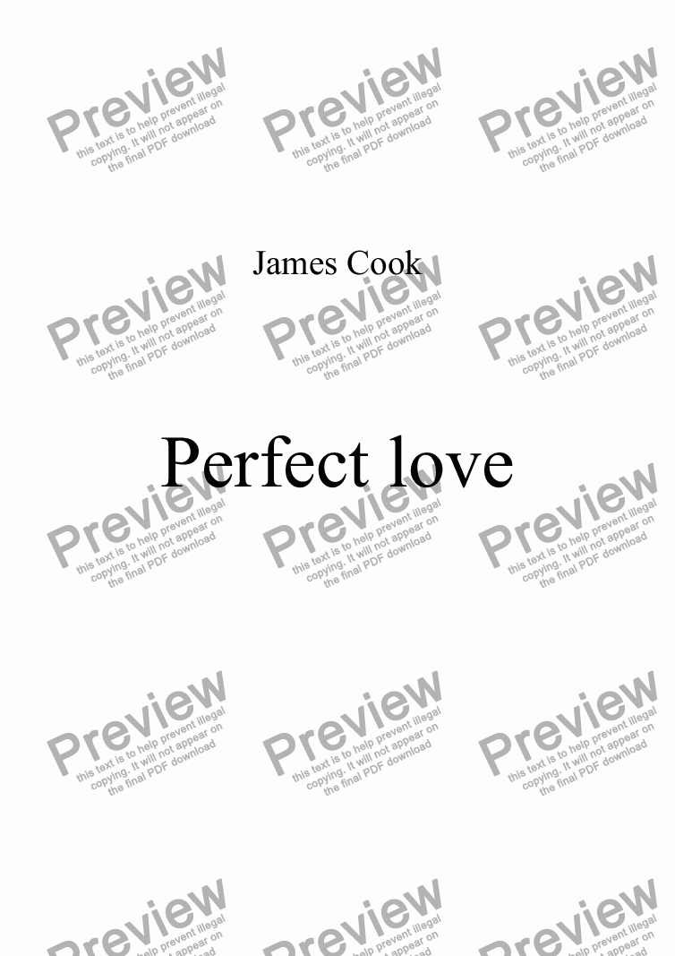 page one of Perfect love