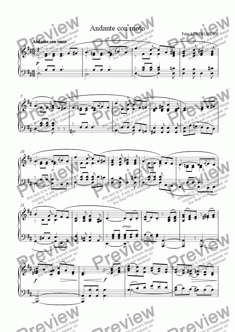 page one of 'Andante con moto' for piano