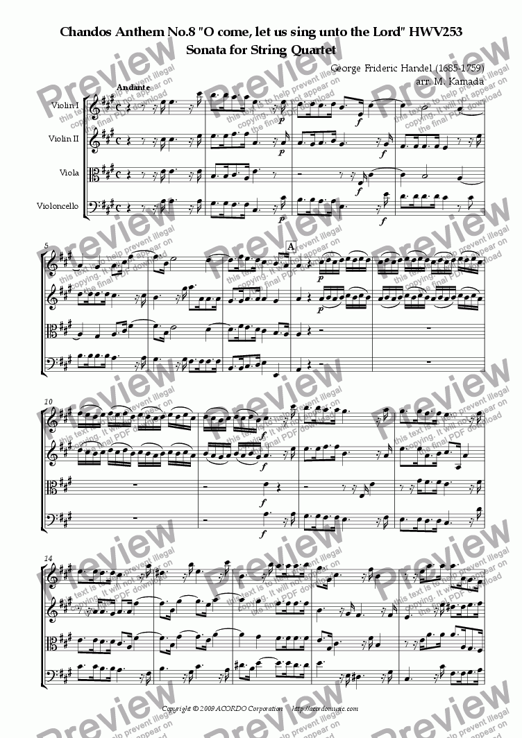 "page one of Chandos Anthem No.8 ""O come, let us sing unto the Lord"" HWV253 Sonata for String Quartet"