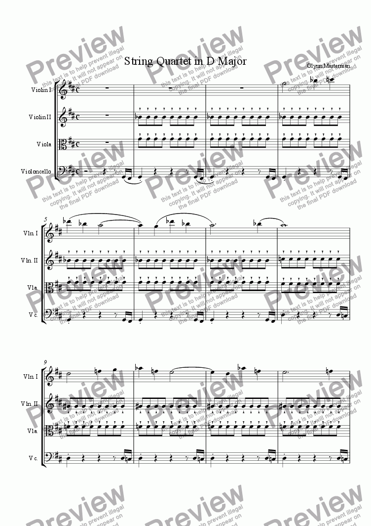 page one of String Quartet in D Major