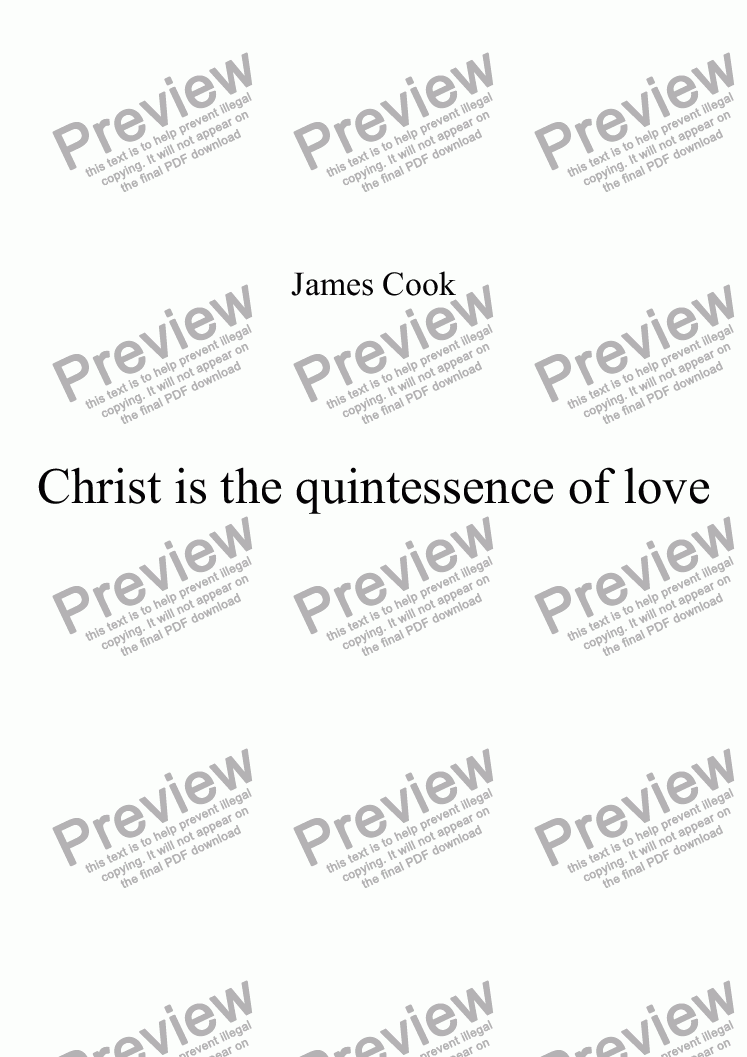 page one of Christ is the quintessence of love