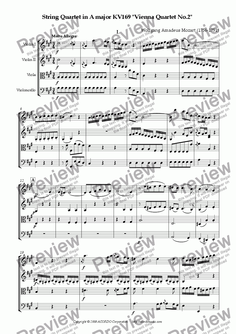 "page one of String Quartet in A major KV169 ""Vienna Quartet No.2"""