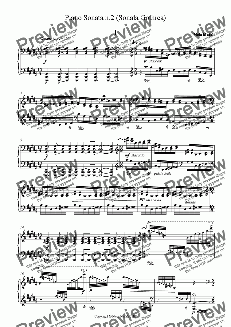 page one of Piano Sonata # 2 (Sonata Gothica)