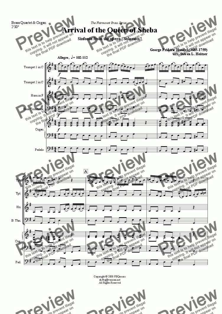 page one of Arrival of the Queen of Sheba (from Solomon) - Brass QUARTET & Organ