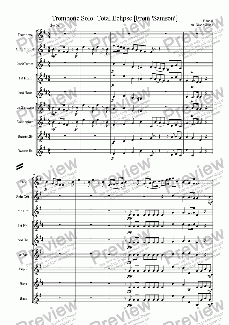 page one of Total Eclipse [Trombone and Band] from 'Samson'