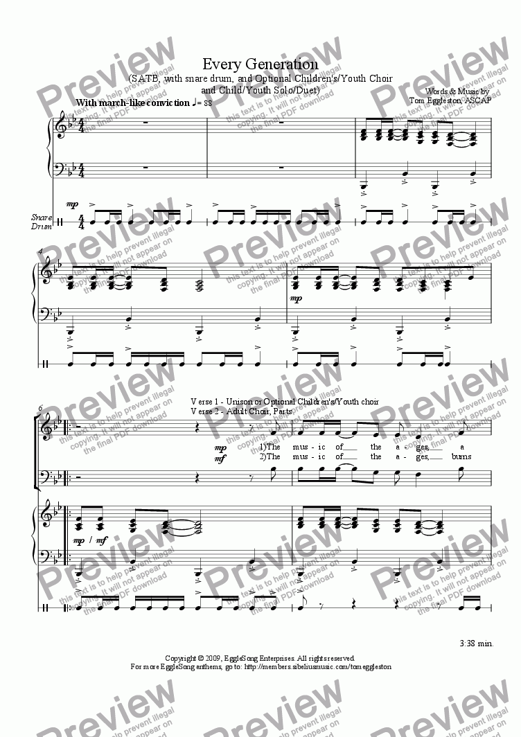 page one of Every Generation, SATB