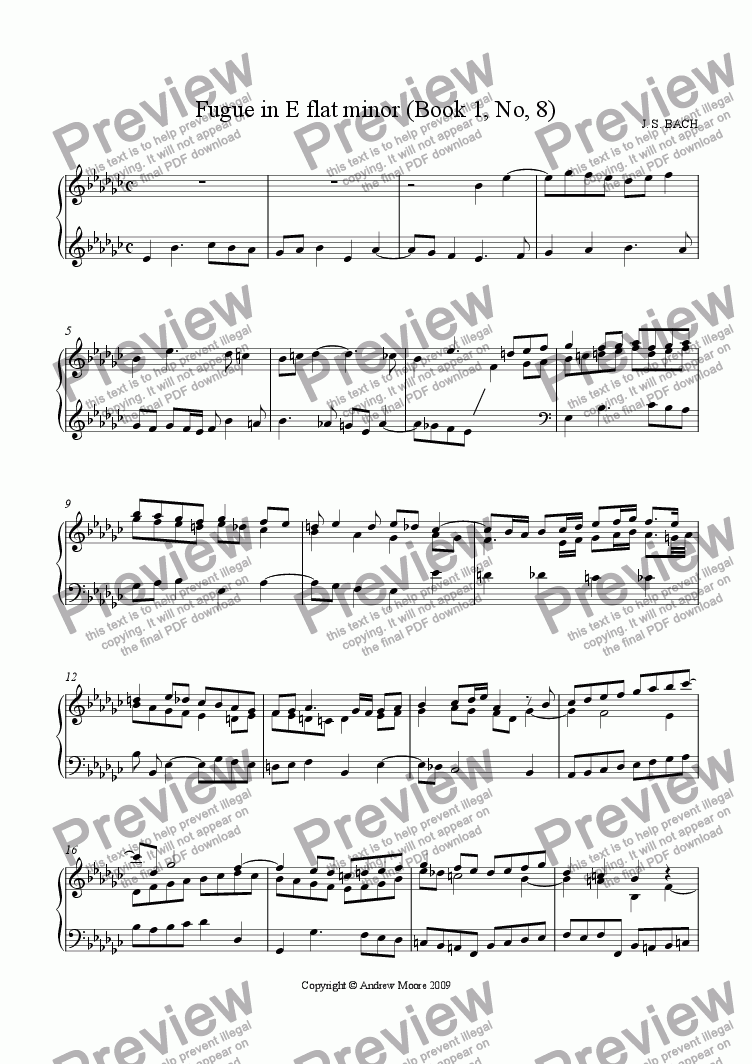 page one of Fugue in E flat minor (Book 1, No. 8)