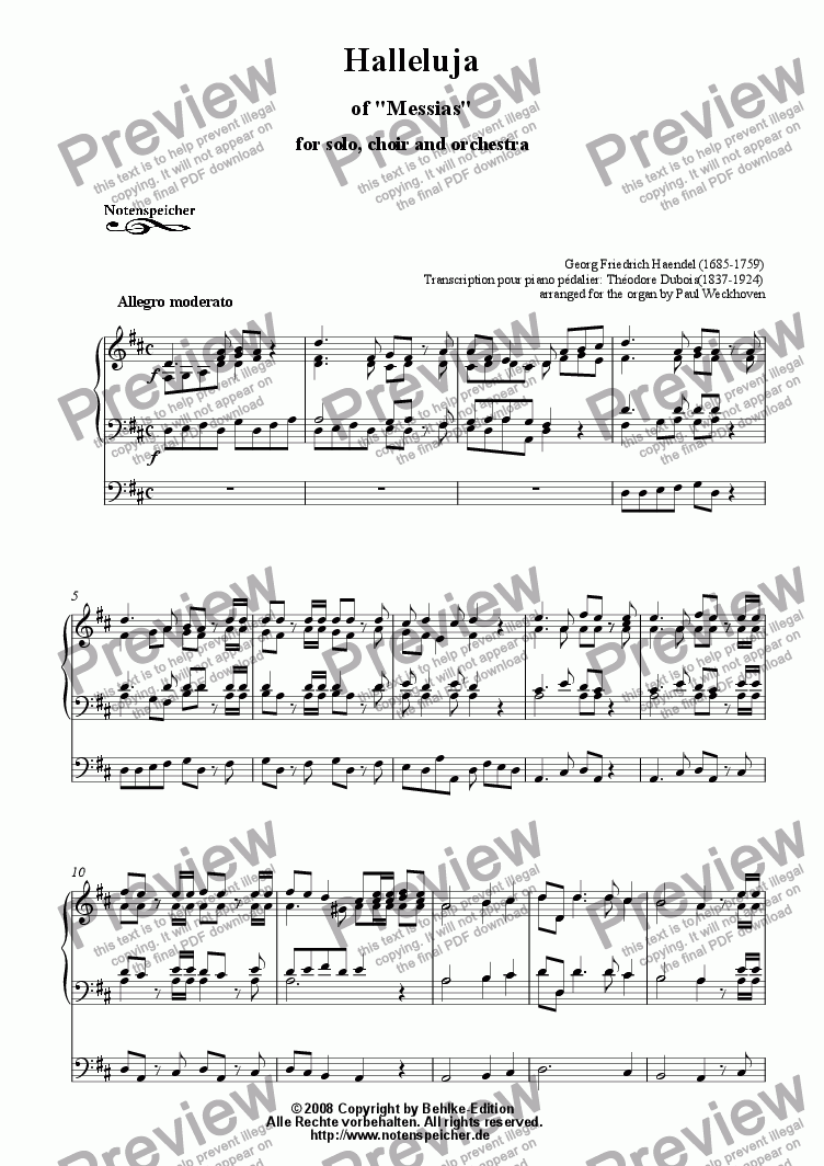 page one of Halleluja from the Messias (G.H.Haendel)