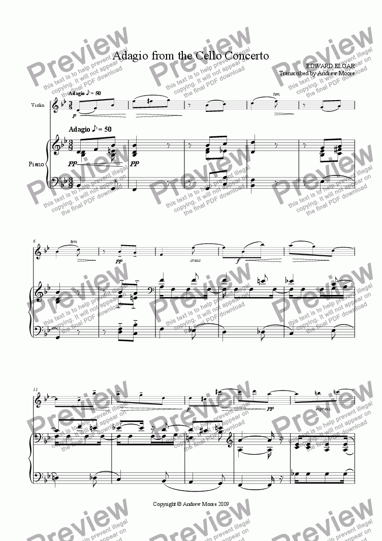 page one of 'Adagio from the Cello Concerto' arranged for violin & piano