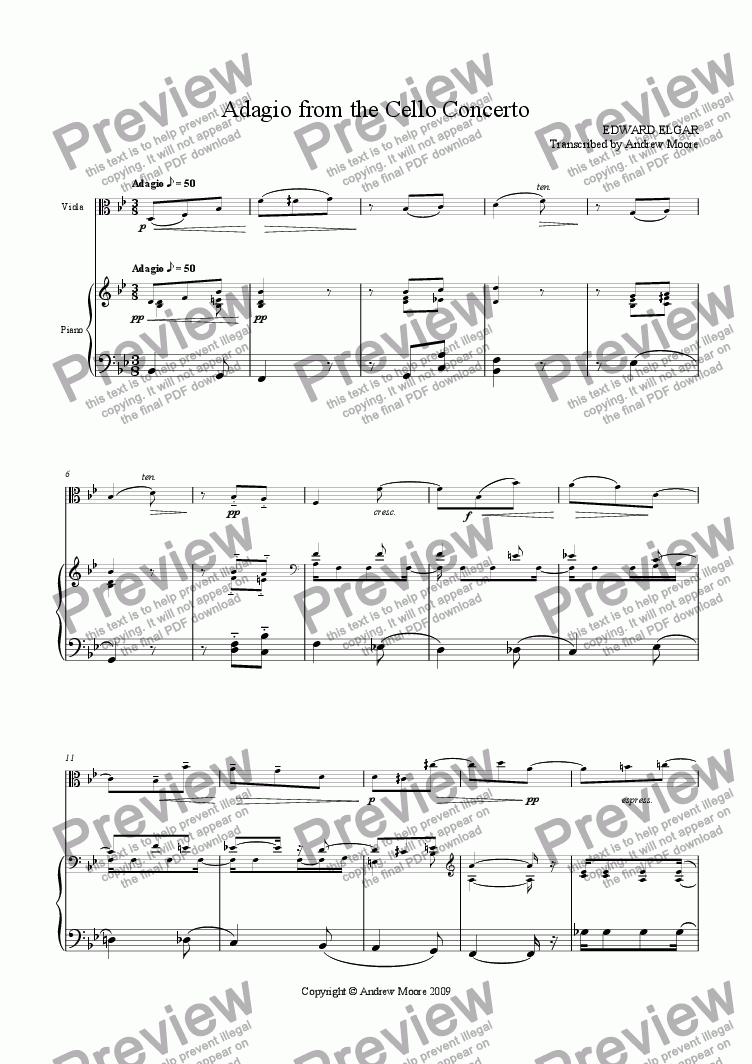 page one of 'Adagio from the cello concerto' arranged for viola & piano