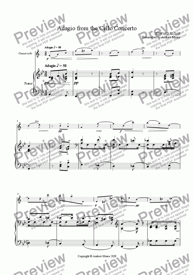 page one of 'Adagio from the cello concerto' arranged for clarinet & piano