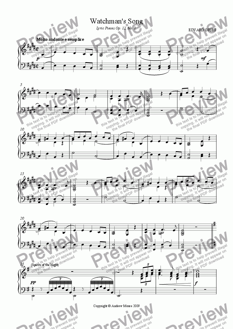 page one of 'Watchman's Song' Op.12, No. 3 for piano