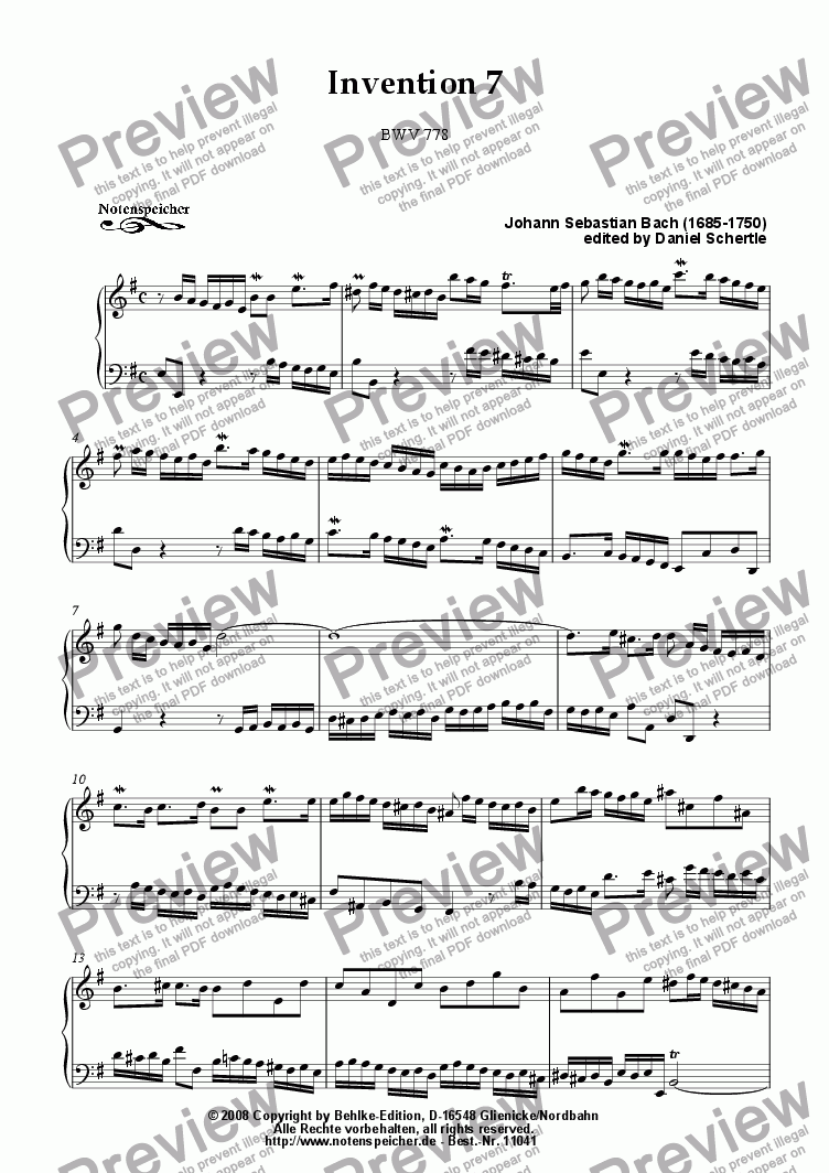 page one of Inventio Nr. 07 (J.S.Bach)