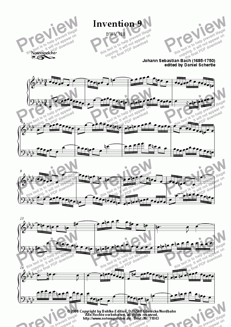 page one of Inventio Nr. 09 (J.S.Bach)