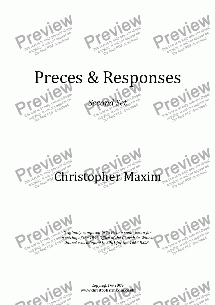 page one of Preces & Responses (2nd Set)