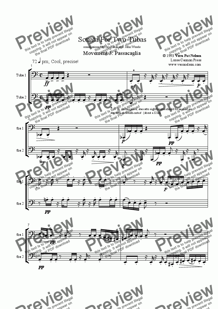page one of Sonata For Two Tubas, mvt. 3