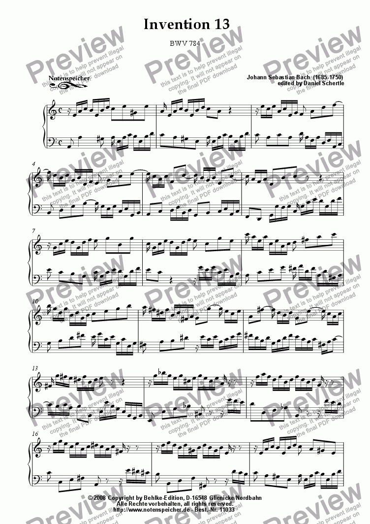 page one of Inventio Nr. 13 in a (J.S.Bach)