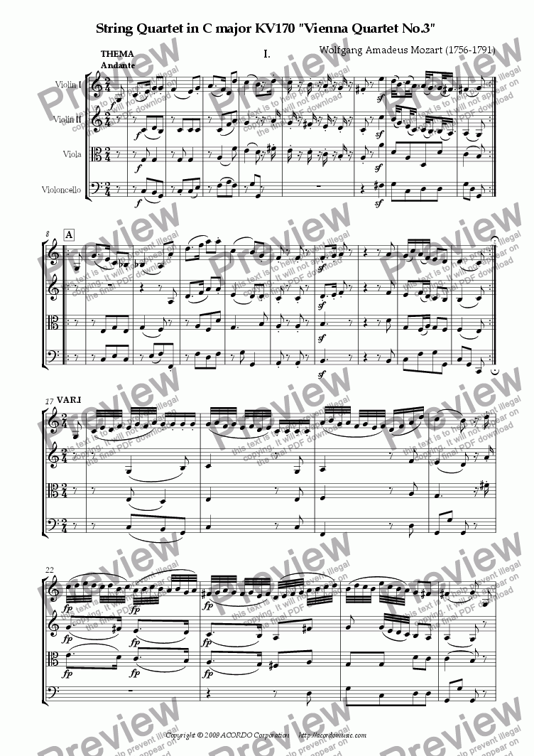 "page one of String Quartet in C major KV170 ""Vienna Quartet No.3"""