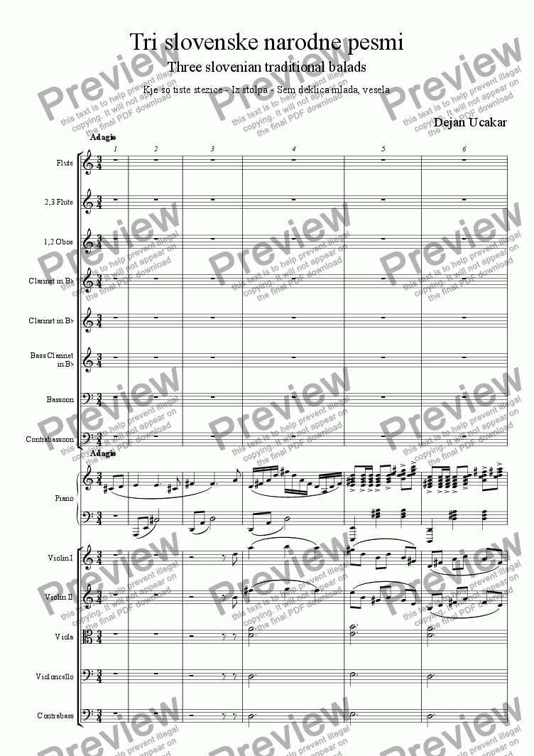 Three Slovenian Traditional Songs for Orchestra by Dejan Ucakar - Sheet  Music PDF file to download
