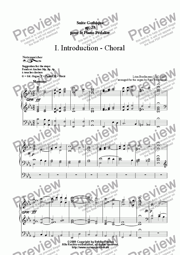 page one of Introduction and Choral (S. Gothique, 1. Mov., L. Boellmann)