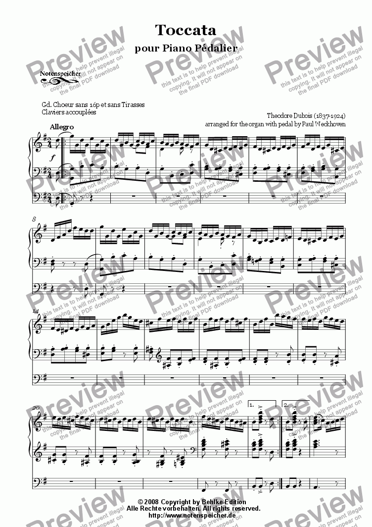 page one of Toccata (Th. Dubois)