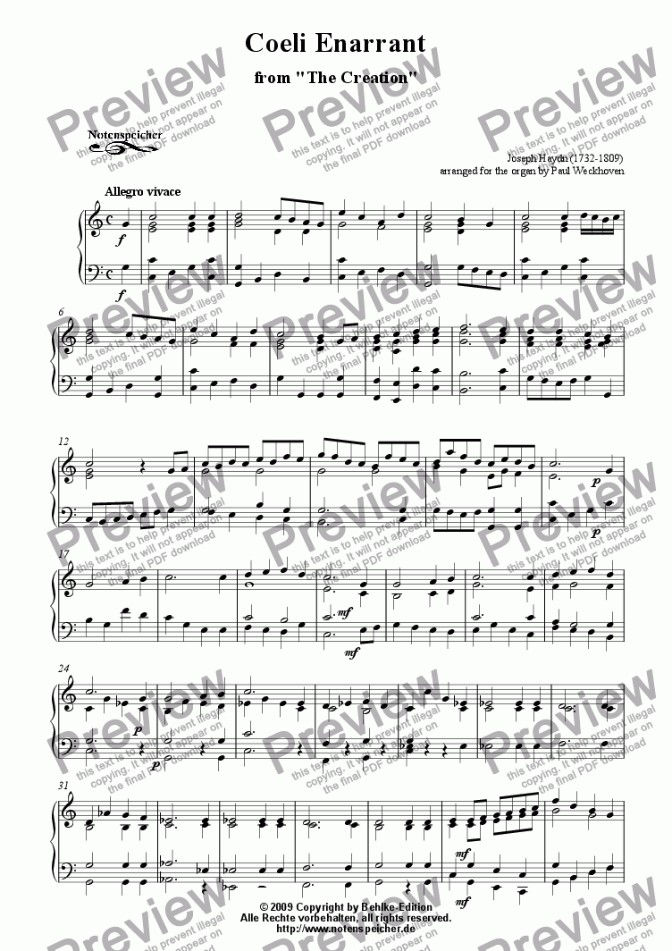 page one of Coeli Enarrant from The Creation (transcr. for organ by J. Haydn)