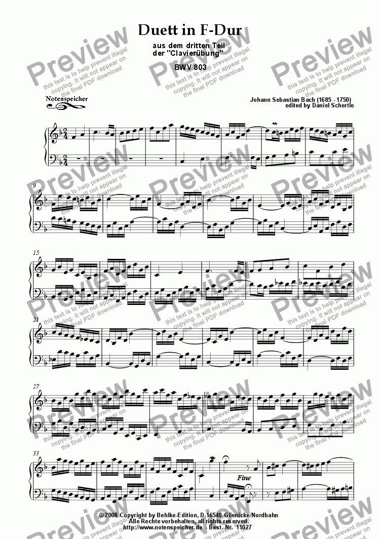 page one of Duett in F from the Clavieruebung BWV 803 (for piano, J.S.Bach)