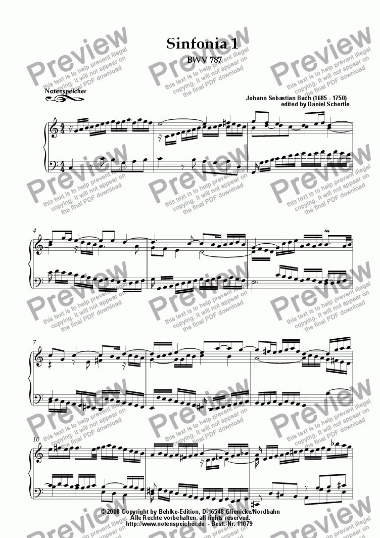 page one of Sinfonia Nr. 01 BWV 787 (J.S.Bach)