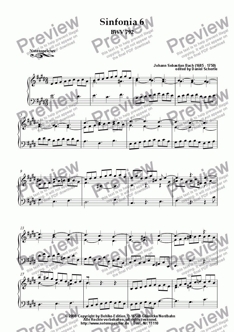 page one of Sinfonia Nr. 06 BWV 792 (J.S.Bach)