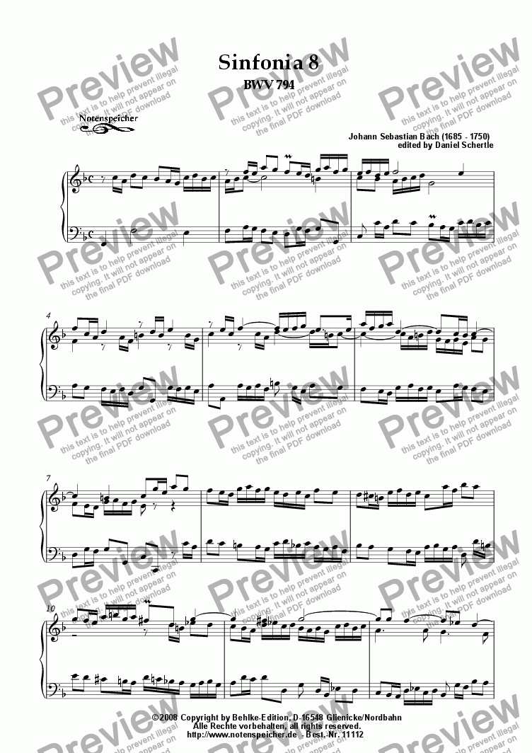 page one of Sinfonia Nr. 08 BWV 794 (J.S.Bach)