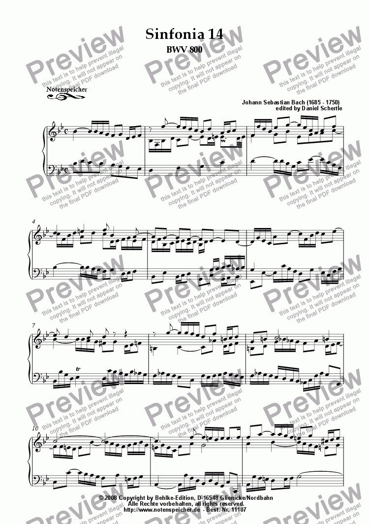 page one of Sinfonia Nr. 14 BWV 800 (J.S.Bach)