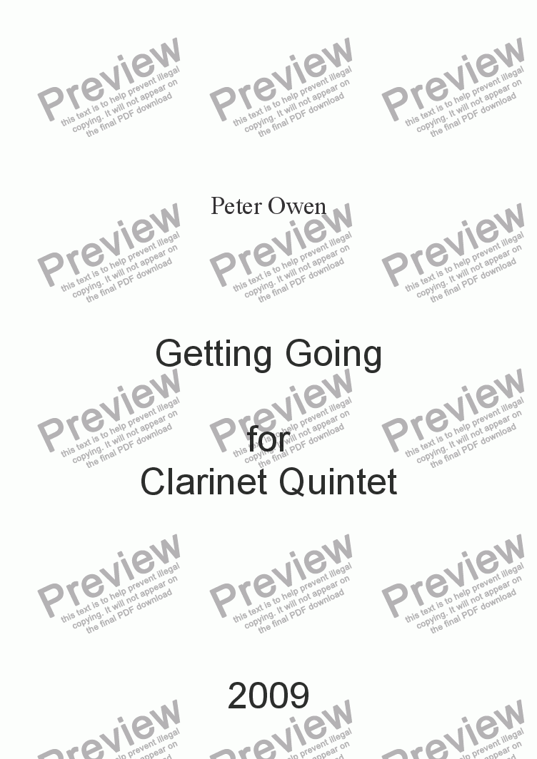 page one of Getting Going for Clarinet Quintet