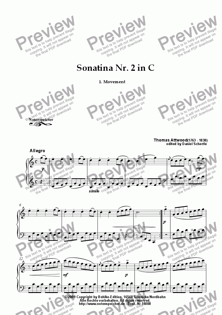 page one of Sonatina Nr. 2 in C, 1.Movement (Th. Attwood)