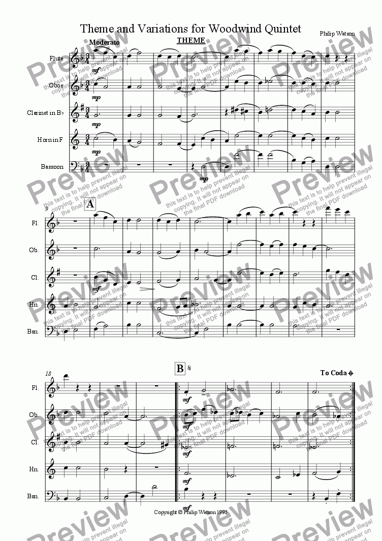 page one of Theme and Variations for Woodwind Quintet