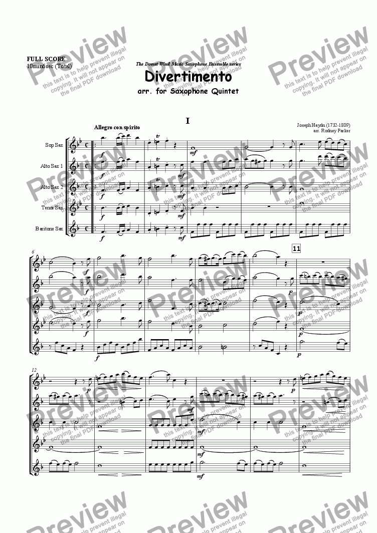 page one of Divertimento arr. for Saxophone Quintet