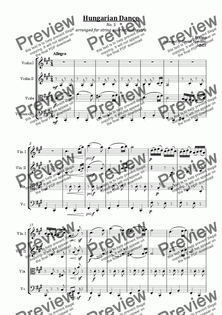 page one of Hungarian Dance No. 5 (for string quartet/orchestra)