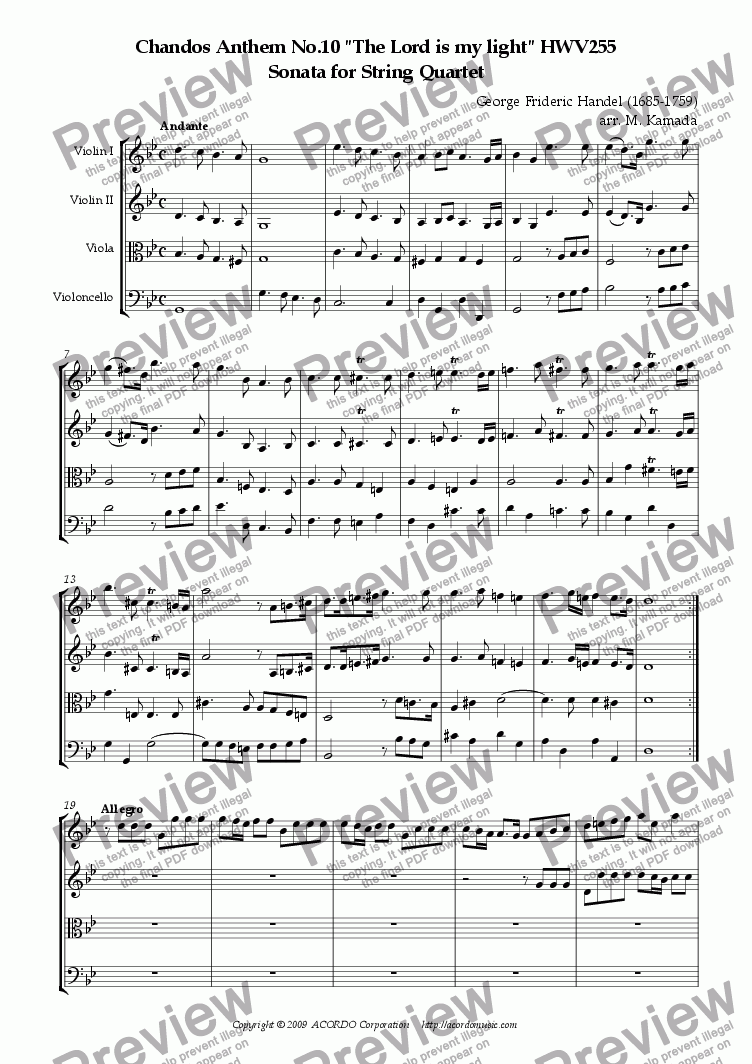 "page one of Chandos Anthem No.10 ""The Lord is my light"" HWV255 Sonata for String Quartet"