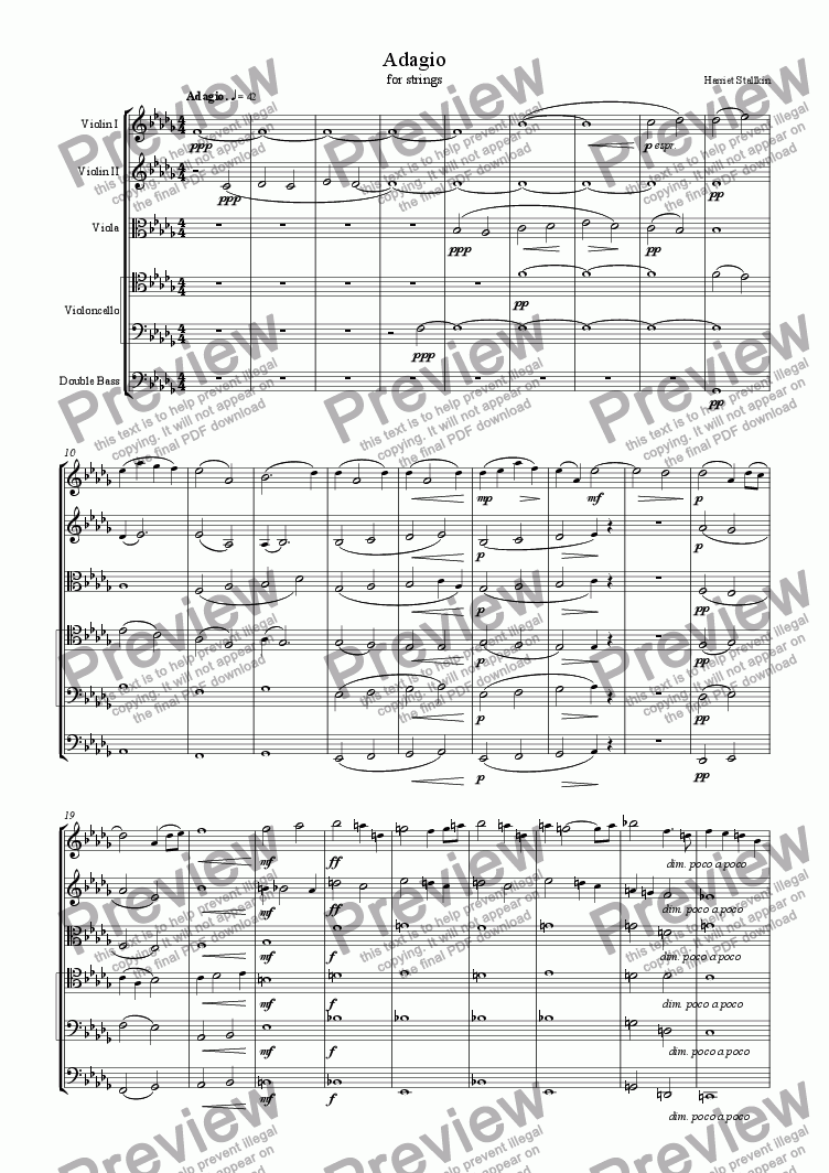 page one of Adagio for Strings