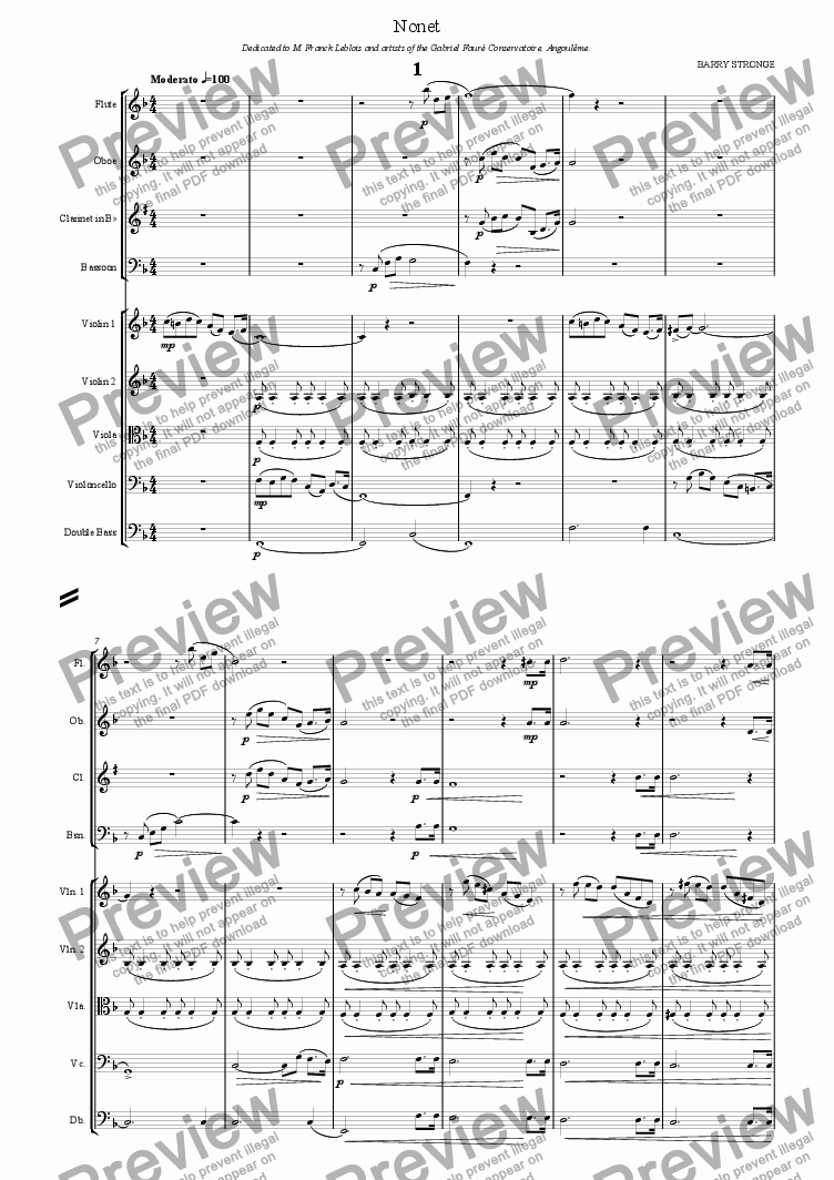 page one of Nonet - First Movement