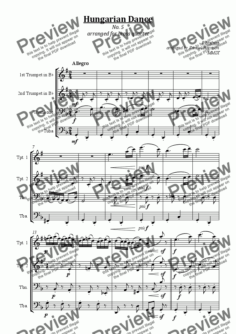 page one of Hungarian Dance No. 5 (for brass quartet)