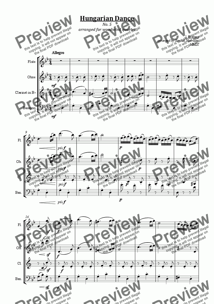 page one of Hungarian Dance No. 5 (for woodwind quartet)