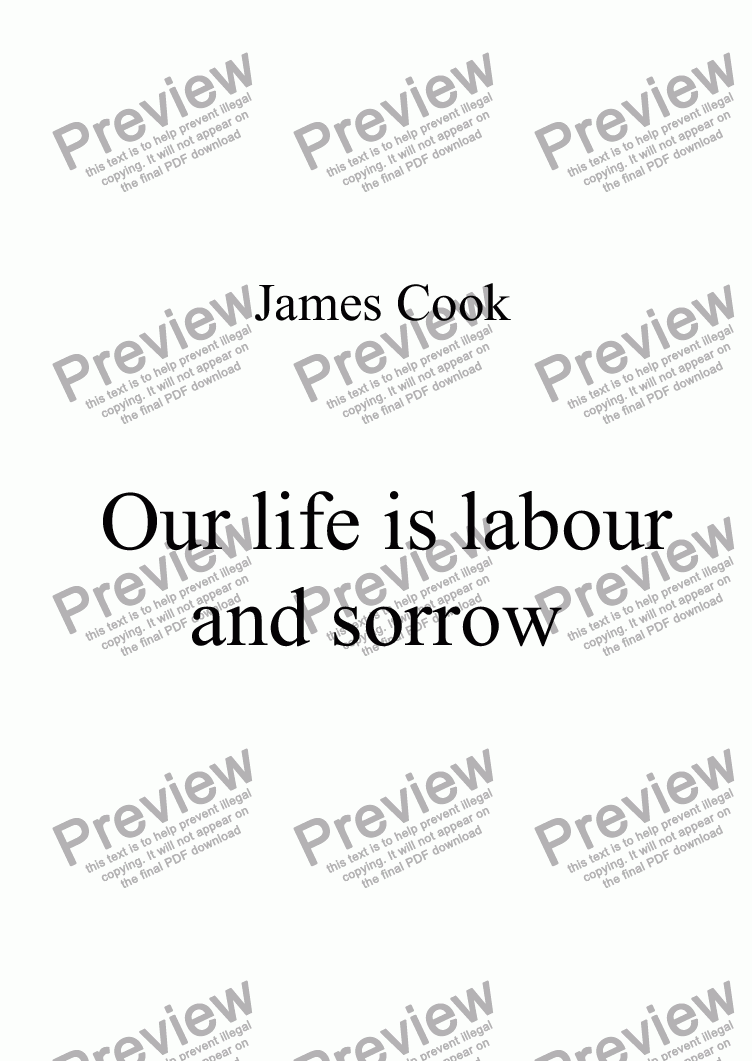 page one of Our life is labour and sorrow